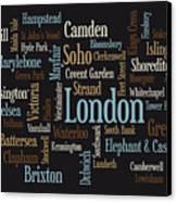 London Text Map Canvas Print by Michael Tompsett