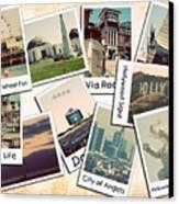 Los Angeles Polaroid Collage Canvas Print by Ricky Barnard