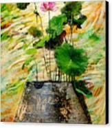 Lotus Tree In Big Jar Canvas Print by Atiketta Sangasaeng