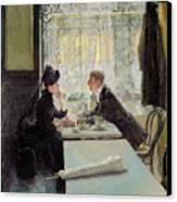 Lovers In A Cafe Canvas Print by Gotthardt Johann Kuehl
