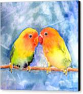Lovey Dovey Lovebirds Canvas Print by Arline Wagner