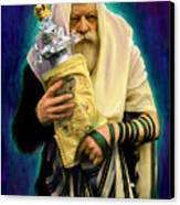 Lubavitcher Rebbe With Torah Canvas Print by Sam Shacked