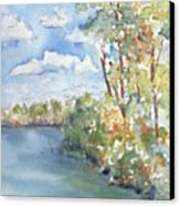 Lucien Lake Shoreline Canvas Print by Pat Katz
