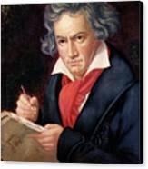 Ludwig Van Beethoven Composing His Missa Solemnis Canvas Print by Joseph Carl Stieler