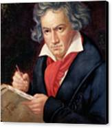Ludwig Van Beethoven Composing His Missa Solemnis Canvas Print by Joseph Carl Stieler