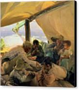 Lunch On The Boat Canvas Print by Joaquin Sorolla y Bastida