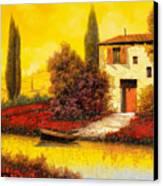 Lungo Il Fiume Tra I Papaveri Canvas Print by Guido Borelli