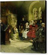 Luther Preaches Using His Bible Translation While Imprisoned At Wartburg Canvas Print by Hugo Vogel