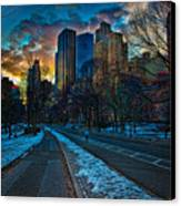Manhattan Sunset Canvas Print by Chris Lord