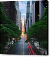 Manhattanhenge From 42nd Street, New York City Canvas Print by Andrew C Mace
