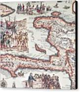 Map Of The Island Of Haiti Canvas Print by French School