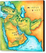 Map Of The Middle East Canvas Print by Jennifer Thermes