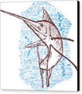 Marlin Woodcut Canvas Print by Aloysius Patrimonio