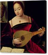 Mary Magdalene Playing The Lute Canvas Print by Master of the Female Half Lengths