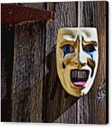 Mask On Barn Door Canvas Print by Garry Gay