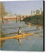 Max Schmitt In A Single Scull Canvas Print by Thomas Cowperthwait Eakins