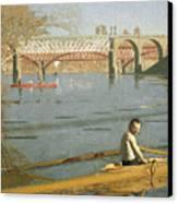 Max Schmitt In A Single Scull Canvas Print by Thomas Eakins