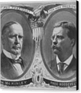 Mckinley And Roosevelt Election Poster Canvas Print by War Is Hell Store