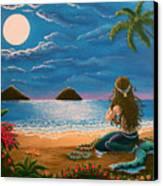 Mermaid Making Leis Canvas Print by Gale Taylor