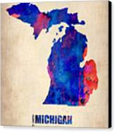 Michigan Watercolor Map Canvas Print by Naxart Studio