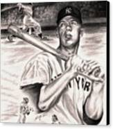 Mickey Mantle Canvas Print by Kathleen Kelly Thompson