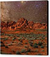 Milky Way Rising Over The Valley Of Fire Canvas Print by Charles Warren