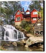 Mill Shoals Falls - Wnc Blue Ridge Waterfalls Canvas Print by Dave Allen