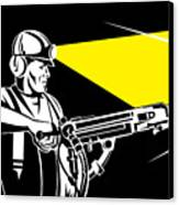 Miner With Jack Leg Drill Canvas Print by Aloysius Patrimonio