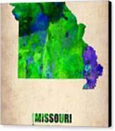 Missouri Watercolor Map Canvas Print by Naxart Studio