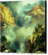 Mist In The Canyon Canvas Print by Thomas Moran