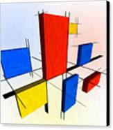 Mondrian 3d Canvas Print by Michael Tompsett