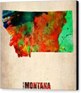 Montana Watercolor Map Canvas Print by Naxart Studio