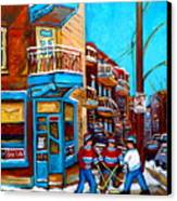 Montreal City Scene Hockey At Wilenskys Canvas Print by Carole Spandau