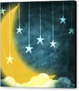 Moon And Stars Canvas Print by Setsiri Silapasuwanchai