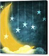 Moon And Stars Canvas Print by Setsiri Silapasuwanchai