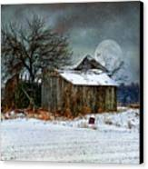 Moon Light Barn Canvas Print by Mary Timman