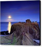 Moonrise Dunnottar Castle Aberdeenshire Scotland Canvas Print by Angus Clyne