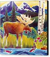 Moose On Trout Creek Canvas Print by Harriet Peck Taylor