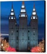 Mormon Temple Christmas Lights Canvas Print by Utah Images