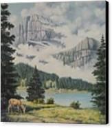 Morning At The Glacier Canvas Print by Wanda Dansereau