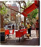 Morning On A Street In Tel Aviv Canvas Print by Zalman Latzkovich