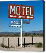 Motel Sign On I-40 And Old Route 66 Canvas Print by Scott Sawyer