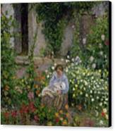 Mother And Child In The Flowers Canvas Print by Camille Pissarro