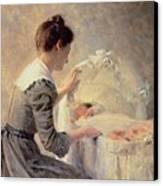 Motherhood Canvas Print by Louis Emile Adan