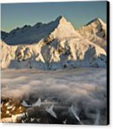 Mount Pollux And Mount Castor At Dawn Canvas Print by Colin Monteath