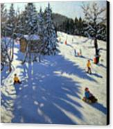 Mountain Hut Canvas Print by Andrew Macara