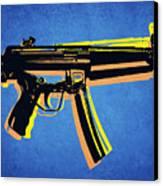 Mp5 Sub Machine Gun On Blue Canvas Print by Michael Tompsett