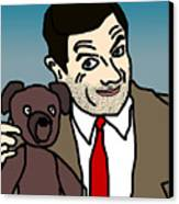 Mr Bean And Teddy Canvas Print by Jera Sky