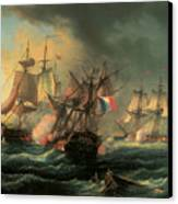 Naval Combat Between The Rights Of Man And The English Vessel Indefatigable And The Frigate Amazon Canvas Print by Leopold Le Guen