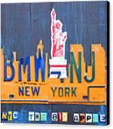 New York City Skyline License Plate Art Canvas Print by Design Turnpike